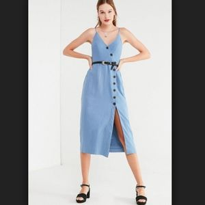 dc3585640fe Urban Outfitters Dresses - UO Amber Button-down linen midi dress blogger